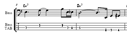 small example of standard notation and the corresponding tab notation